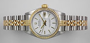 Ladies Rolex Oyster Perpetual DateJust 18K SS - White Dial 69173