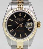 Ladies Rolex Oyster Perpetual DateJust 18K SS - Black Dial 69173