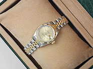 Ladies Rolex DateJust 18K/SS Champagne Dial 69173