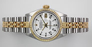 Ladies Rolex Oyster Perpetual DateJust White Roman Numeral Dial 69173