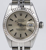 Ladies Rolex Oyster Perpetual DateJust Silver Metallic Dial 69174