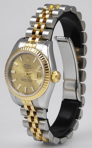 Ladies Rolex Oyster Perpetual DateJust 18K/SS Champagne Dial 179173