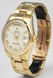 Rolex Oyster Perpetual Day-Date 118208 - Ivory White Roman Numeral Dial